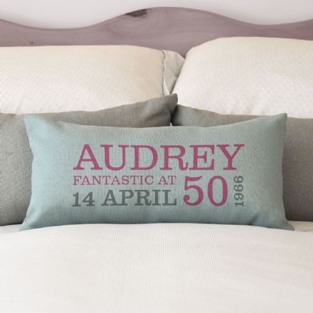 Personalised 50th Birthday Rectangular Cushion